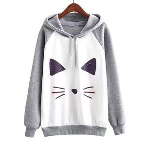 Sweaters - Women's Cat Hooded Sweatshirt   Cute Cat Sweater